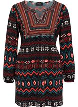 Embroidered And Print Knit Top Black/Red - Gallery Image 1