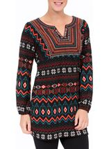 Embroidered And Print Knit Top Black/Red - Gallery Image 2