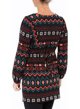 Embroidered And Print Knit Top Black/Red - Gallery Image 3