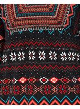 Embroidered And Print Knit Top Black/Red - Gallery Image 4