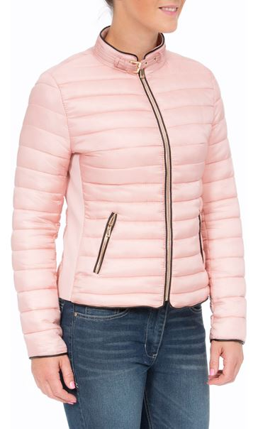 Short Quilted Jacket Pink