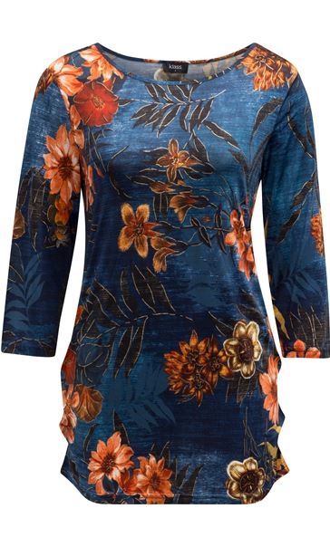 Printed Floral Jersey Tunic Midnight/Shrimp