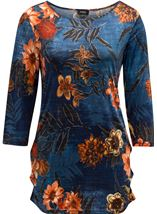Printed Floral Jersey Tunic Midnight/Shrimp - Gallery Image 1