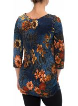 Printed Floral Jersey Tunic Midnight/Shrimp - Gallery Image 3