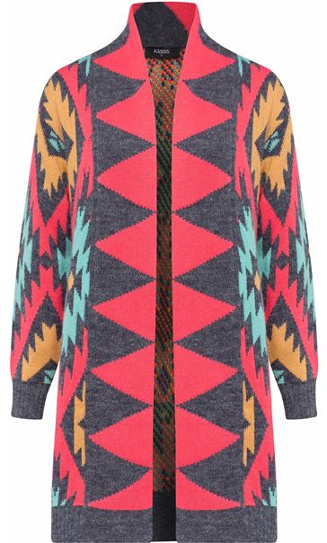 Aztec Print Long Cardigan Blue/Pink
