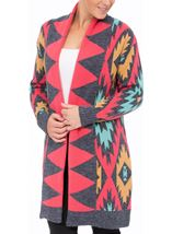Aztec Print Long Cardigan Blue/Pink - Gallery Image 2