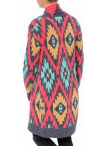 Aztec Print Long Cardigan Blue/Pink - Gallery Image 3