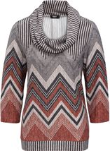 Zig Zag Cowl Neck Knit Top Grey/Orange - Gallery Image 1
