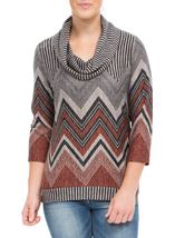 Zig Zag Cowl Neck Knit Top Grey/Orange - Gallery Image 2