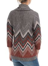 Zig Zag Cowl Neck Knit Top Grey/Orange - Gallery Image 3