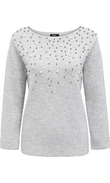 Faux Pearl Embellished Knit Top Grey