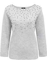 Faux Pearl Embellished Knit Top Grey - Gallery Image 1