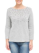Faux Pearl Embellished Knit Top Grey - Gallery Image 2