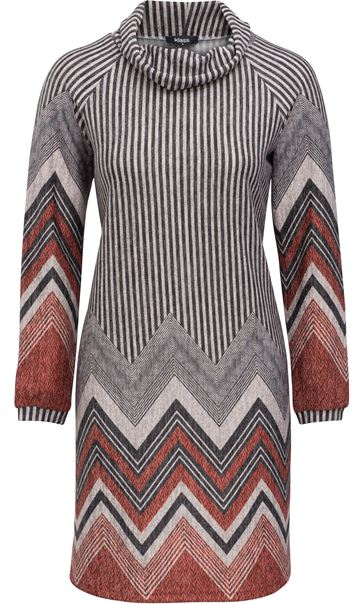 Zig Zag Cowl Neck Knitted Long Sleeve Midi Dress Grey/Orange