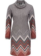 Zig Zag Cowl Neck Knitted Long Sleeve Midi Dress Grey/Orange - Gallery Image 1