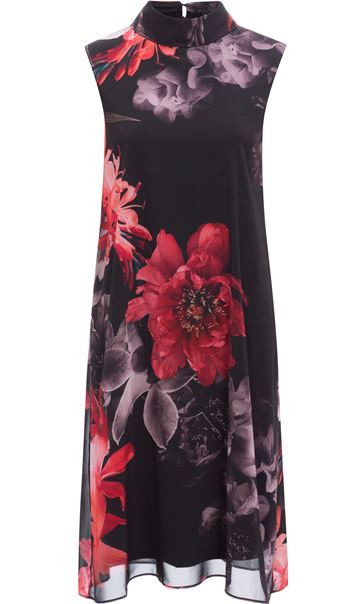 Sleeveless Floral Chiffon Layer Midi Dress Black/Red
