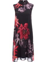 Sleeveless Floral Chiffon Layer Midi Dress Black/Red - Gallery Image 1