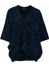 Chenille Loose Fitting Cardigan Midnight - Gallery Image 1