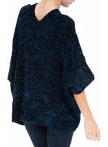 Chenille Loose Fitting Cardigan Midnight - Gallery Image 3