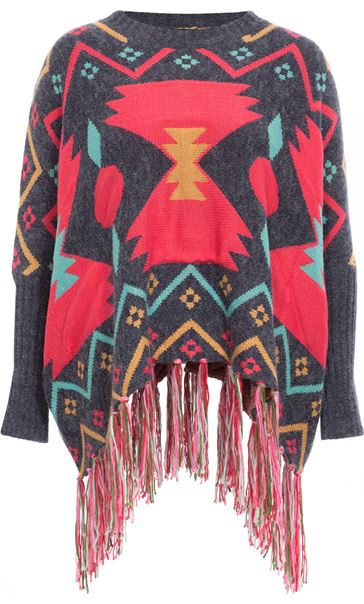Long Sleeve Patterned Knit Cape