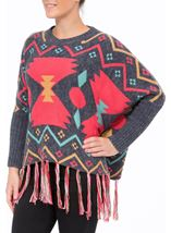 Long Sleeve Patterned Knit Cape Blue/Pink - Gallery Image 2