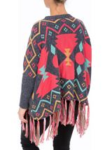 Long Sleeve Patterned Knit Cape Blue/Pink - Gallery Image 3