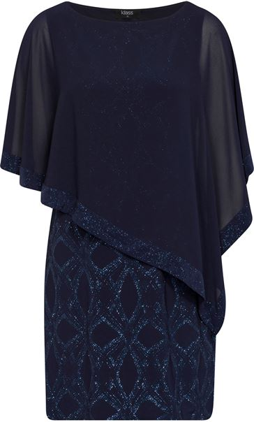 Chiffon Layered Shimmer Midi Dress Midnight