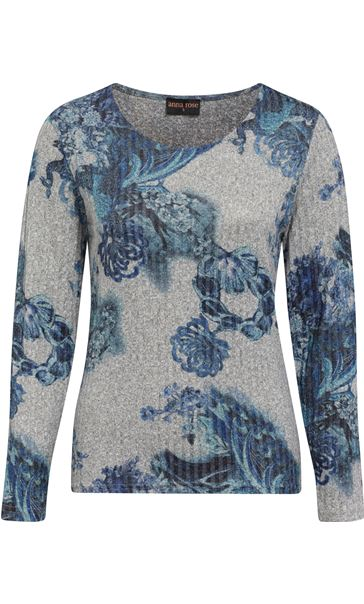 Anna Rose Floral Knit Top Grey/Blue