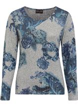 Anna Rose Floral Knit Top Grey/Blue - Gallery Image 1