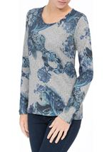 Anna Rose Floral Knit Top Grey/Blue - Gallery Image 2