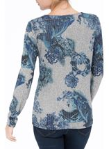 Anna Rose Floral Knit Top Grey/Blue - Gallery Image 3