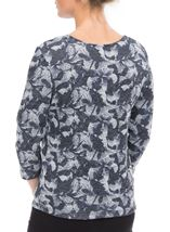Anna Rose Printed Three Quarter Sleeve Knit Top Denim/Grey - Gallery Image 3