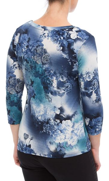 Anna Rose Floral Print Top Blues - Gallery Image 3