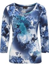 Anna Rose Floral Print Top Blues - Gallery Image 1