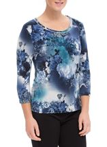 Anna Rose Floral Print Top Blues - Gallery Image 2