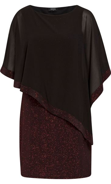 Chiffon Layered Sparkle Midi Dress Black/Red