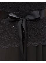Lace And Mesh Short Sleeve Maxi Dress Black - Gallery Image 4