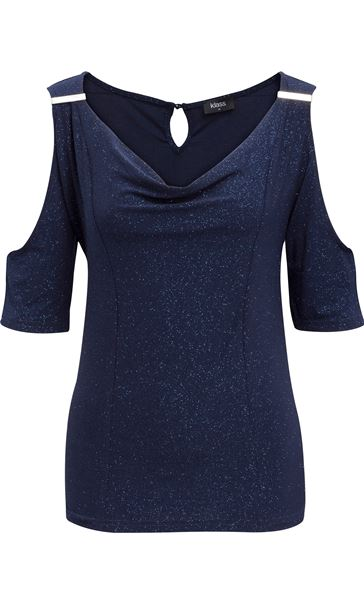 Cold Shoulder Glitter Top Midnight