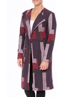 Patterned Open Lined Coat - Purple