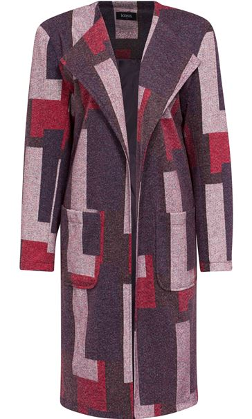 Patterned Open Lined Coat Purple Mix