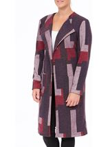 Patterned Open Lined Coat Purple Mix - Gallery Image 2