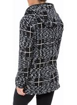 Hooded Knitted Coat Black/Grey - Gallery Image 2
