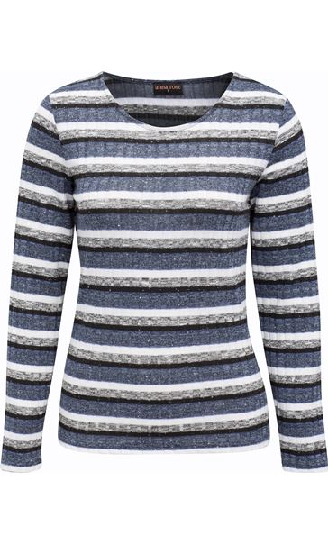 Anna Rose Sparkle Stripe Knit Top Grey Marl/Blue