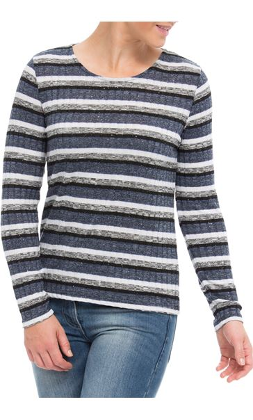 Anna Rose Sparkle Stripe Knit Top Grey Marl/Blue - Gallery Image 2