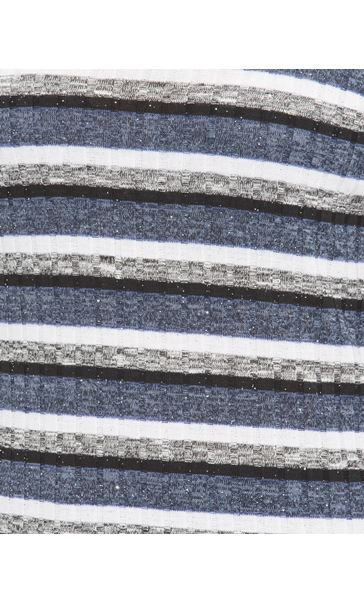 Anna Rose Sparkle Stripe Knit Top Grey Marl/Blue - Gallery Image 4