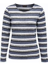 Anna Rose Sparkle Stripe Knit Top Grey Marl/Blue - Gallery Image 1