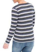 Anna Rose Sparkle Stripe Knit Top Grey Marl/Blue - Gallery Image 3