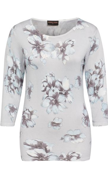 Anna Rose Lightweight Floral Knit Top Soft Blue/Grey