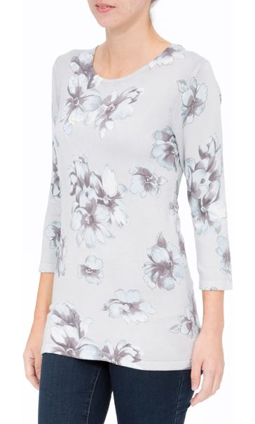 Anna Rose Lightweight Floral Knit Top Soft Blue/Grey - Gallery Image 2