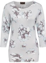 Anna Rose Lightweight Floral Knit Top Soft Blue/Grey - Gallery Image 1